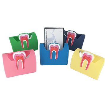 1pcs Cute Dental Card Holder Colorful Rubber Teeth Molar Shape Phone Card Name Storage Dsiaply Stand For Clinic Dentist Gift