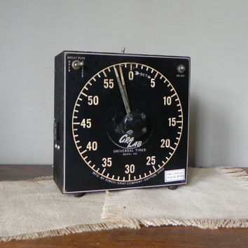 Vintage graphic black and white timer with extra plug socket for photographic lab photos - universal timer great set design item