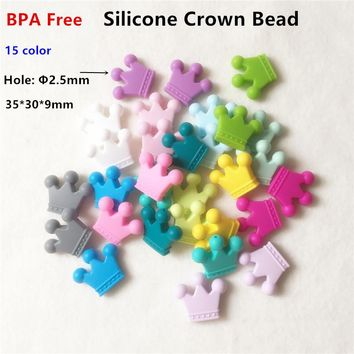 Chenkai 50pcs BPA Free Silicone Crown Teether Beads DIY Baby Shower Chewing Jewelry Grasping Toy Teethering Necklace Accessories