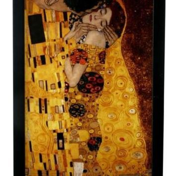 The Kiss by Klimt with Base Romantic Stained Glass 12H