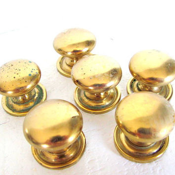 Brass Cabinetry Knob Set, Vintage Hardware, Cabinet Knob, Door Drawer Pull