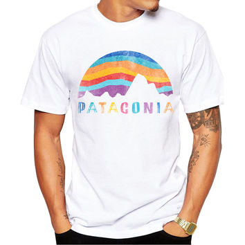 Patagonia Mountain on Sunset Men's Short Sleeve Casual White T-Shirt