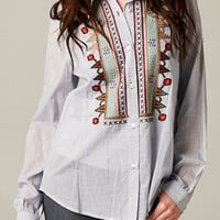 Striped Embroidered Button Down Top