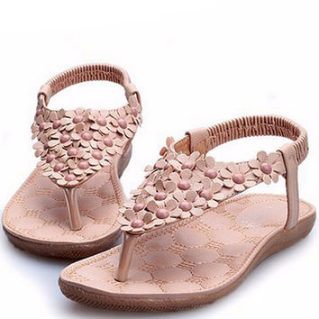 Flat Women's Sandals with Flower Decoration