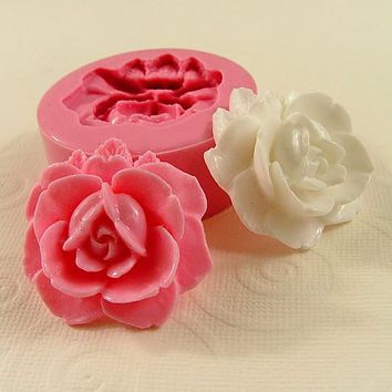 Rose Flower Mold Cabochon Flexible Silicone Mould 35mm by MoldMuse