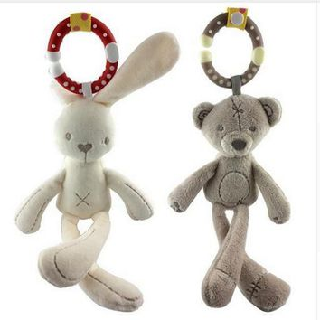 cute  Baby crib stroller toy animal Rabbit Bunny Bear Soft Plush infant Doll Mobile Bed Pram kid Animal Hanging ring 44% off