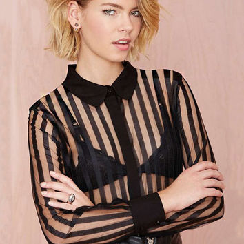 Black Striped Shirt Collar Chiffon Cuff Sleeve Blouse