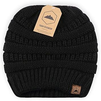 Cable Knit Beanie by Tough Headwear - Thick, Soft & Warm Chunky Beanie Hats for Women & Men - Serious Beanies for Serious Style