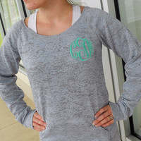 Monogrammed Wide Neck Burnout Sweatshirt    MASTER CIRCLE font