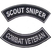 SCOUT SNIPER COMBAT VETERAN ROCKERS PATCHES SET FOR BIKER MOTORCYCLE VEST JACKET