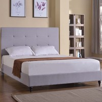 "New Century® Gray Linen 47"" Inches Headboard Platform Bed With Slats"