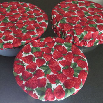 Reusable Bowl Covers, Elastic Bowl Lids, Eco Friendly Lids, Strawberry Decor