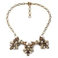 ZLYC Women's Gorgeous Gold Tone Resin Crystal Bib Statement Necklace Party Event Jewelry