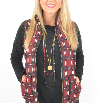 Maroon and Black Quilted Vest with Zip-Up Front