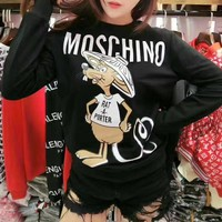 """Moschino"" Women Casual Letter Cartoon Mouse Pattern Print Long Sleeve Round Neck Sweater Tops"