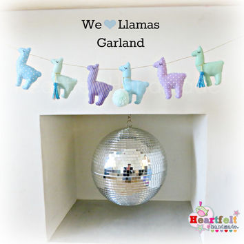 LLAMA Garland - any colours - lilac mint gold blue aqua