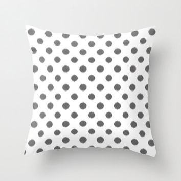 Velveteen Pillow - Polka Dot Throw Pillow - Grey - Ikat - Fashion Pillow - Accent Pillow - Grey Decorative Pillow