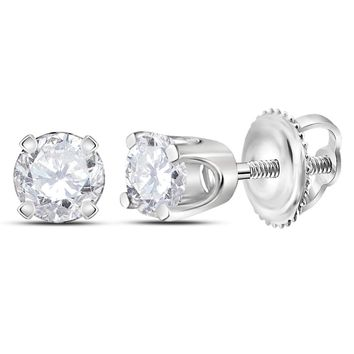 14kt White Gold Unisex Round Diamond Solitaire Stud Earrings 1/5 Cttw