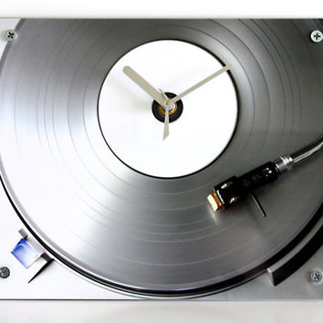 Modern Record Wall Clock Retro Silver Record Player by blueorder