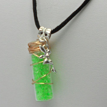 Fairy Magic Necklace - Green Bottle and Charm Necklace on Black Silk Cord - Magical or Gothic Jewelry