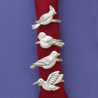 Assorted Birds Pewter Napkin Rings (Set of 4) by Basic Spirit