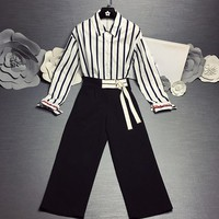 """Dior"" Women Temperament Fashion Long Sleeve Stripe Lapel Shirt High Waist Wide Leg Pants Trousers Set Two-Piece"