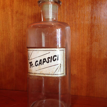Apothecary Bottle / Antique Apothecary Jars / Vintage Medicine Bottle / Hand Blown Glass Pharmacy Bottle