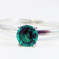 Emerald Solitaire Ring Sterling Silver, May Birthstone Ring, Emerald Engagement Ring, Sterling Solitaire Ring