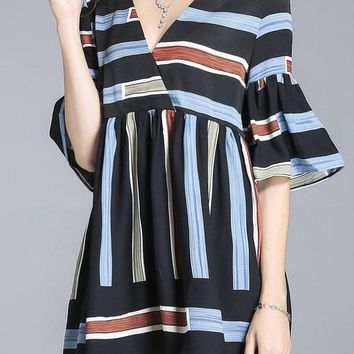 A| Chicloth V neck Multicolor Mini Dress Shift Daytime Bell Sleeve Casual Dress