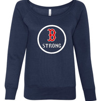 Boston Strong Ladies Sweatshirt Super soft Ladies Wide Neck Sweatshirt