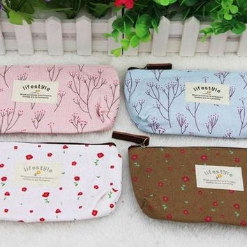 DCCKHY9 Hot Sale New Flower Floral Pencil Pen Canvas Case Cosmetic Makeup Tool Bag Storage Pouch Purse