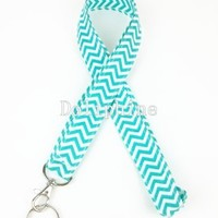 Wave Fabric Neck Chevron LANYARDs Keychain for Key / ID / Cell Phone Holder (Aqua)