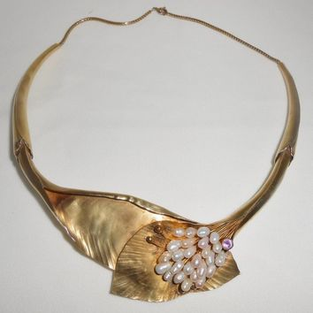 Michou Sterling Necklace 22K Overlay Treasures of the Sea Collection Late 1990's Designer Jewelry Pearls Amethyst