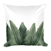 Green Palm Leaf Square Pillow