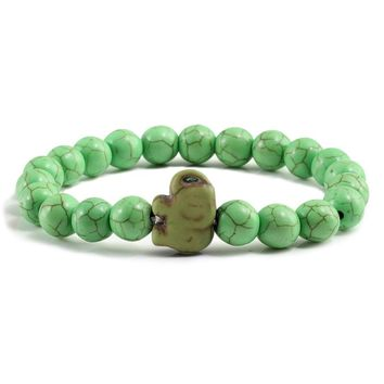 Fashion Animal Elephant Men Prayer Buddha Bangles Bracelets Yoga Meditation Green Turquoises Distance Bracelet For Women Jewelry