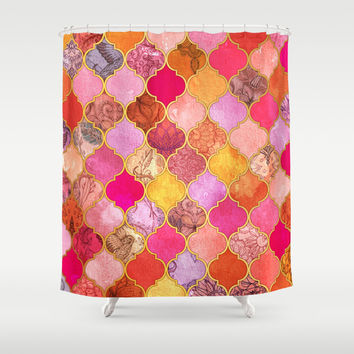 Hot Pink, Gold, Tangerine & Taupe Decorative Moroccan Tile Pattern Shower Curtain by Micklyn