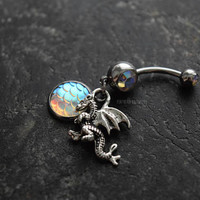 Dragon Scales White AB 14g (1.6mm) Navel Gem Belly Ring Piercing Jewelry Accessory