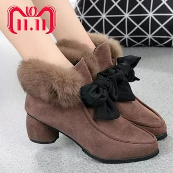 Moxxy Women Boots Warm Winter Boots Female Women Shoes Suede Ankle Boots For Women Botas Mujer Plush Rubber Insole Snow Boots