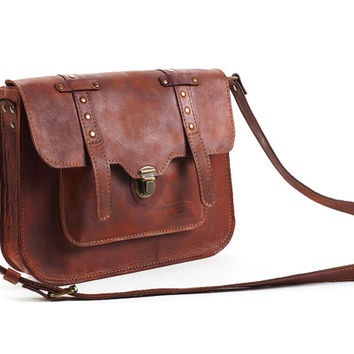 Brown leather messenger bag / Leather crossbody bag / Brown shoulder bag / Brown leather bag