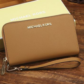 MK Micheal Kors Women Leather Zipper Wallet Purse Wrist Bag