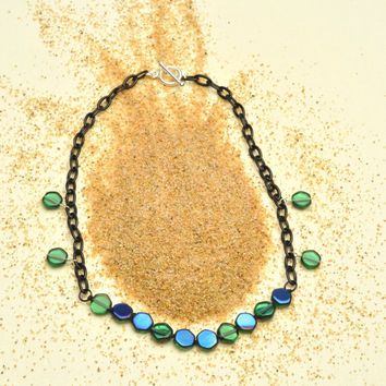 Indigo and Green Hexagon Necklace