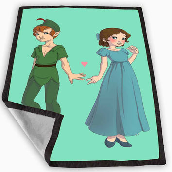 Peter Pan and Wendy Blue Teal Blanket for Kids Blanket, Fleece Blanket Cute and Awesome Blanket for your bedding, Blanket fleece *