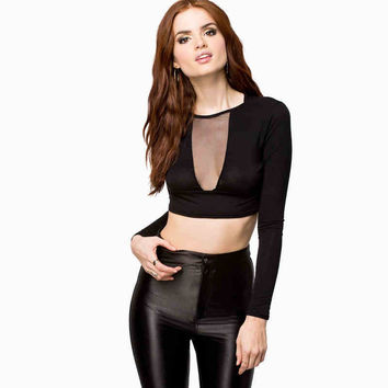 Black Mesh Long-Sleeve Crop Tank