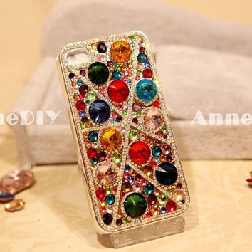 colorful gem iPhone case, diamond iPhone 5 case, iPhone 4s case with bring bring crystal, handmade iPhone 4 cases, gift case