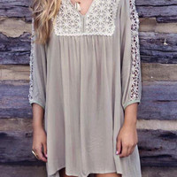 Gray V Neck Hollow Crochet Panel Long Sleeve Dress