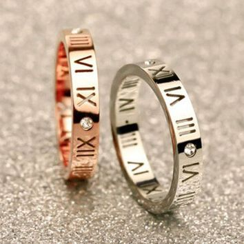 ca ICIKTM4 Jewelry New Arrival Shiny Gift Stylish Couple Roman Titanium Stainless Steel Ring [10794335303]