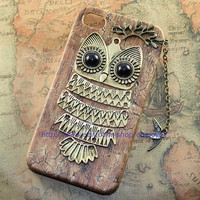 Cute Owl iphone case,lovely fly bird PU leather case for iPhone 4 Case, iPhone 4s Case, iPhone 4 Hard Case