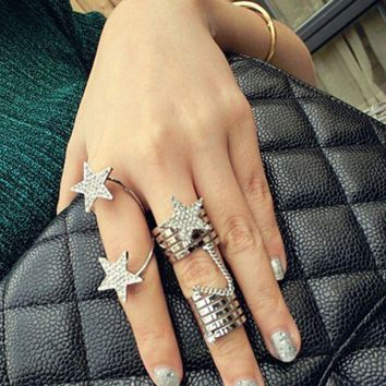 ONETOW Personality multi - layer spiral conjoined full - engraved five - pointed star chain ring 2 sets