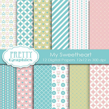 DIGITAL PAPERS - My Sweetheart - Commercial Use - Instant Downloads - 12x12 JPG Files - Scrapbook Papers - High Quality 300 dpi