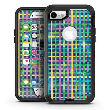 Purple Yellow Green and Blue Stitched Pattern - iPhone 7 or 7 Plus OtterBox Defender Case Skin Decal Kit